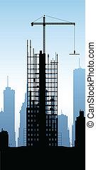 Cartoon silhouette of a skyscraper under construction.