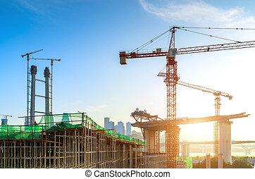 Skyscraper construction site - Building construction site, ...