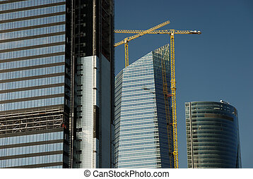 Skyscraper construction site in Madrid, Spain