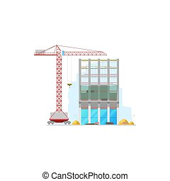Skyscraper construction site isolated building