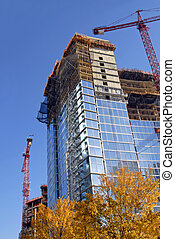 Skyscraper being Constructed with Residential, Retail and Office Space