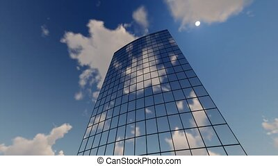 Skyscraper Corporate buildings and clouds time lapse