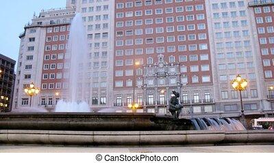 Skyscraper Edificio Espana stands on Plaza Espana