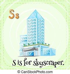 Skyscraper - Flashcard letter S is for skyscraper