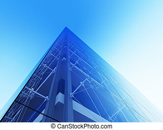 Skyscraper facade - 3d modern city street urban style series