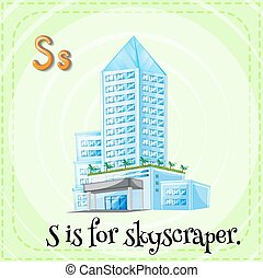 Flashcard letter S is for skyscraper