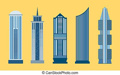 Skyscraper flat icon set isolated