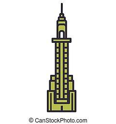 Skyscraper flat line illustration, concept vector isolated icon