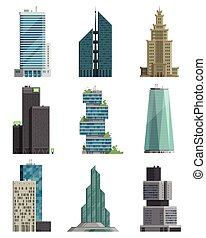 Skyscraper high building tower city architecture business center vector illustration