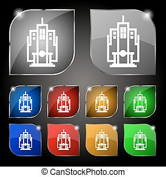 skyscraper icon sign. Set of ten colorful buttons with glare. Vector