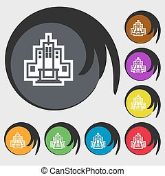 skyscraper icon sign. Symbol on eight colored buttons. Vector