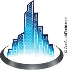 Skyscraper icon - Skyscrapers with modern blue glasses