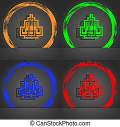 skyscraper icon symbol. Fashionable modern style. In the orange, green, blue, green design.