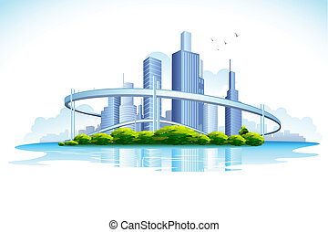 illustration of skyscraper in urban city with lake
