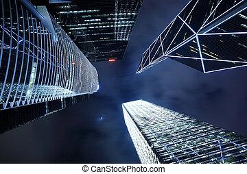 skyscraper in Hong Kong at night