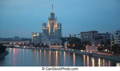Skyscraper located on Kotelnicheskaya quay with illumination...