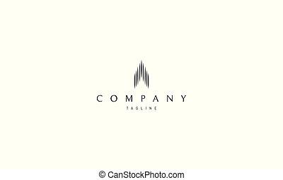 skyscraper., logo, abstrakt, vektor, bild