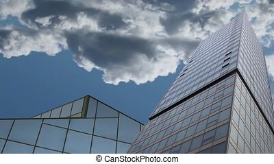 skyscraper on a background clouds in fast motion