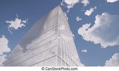 Skyscraper on blue clouds sky