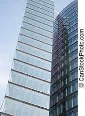 Skyscraper on blue sky, side view