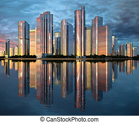 skyscraper skyline reflected on water - highrise glass...