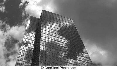 Skyscraper sunburst. Timelapse.