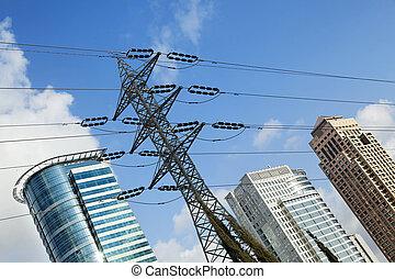 Skyscraper Tops & High Voltage Power Line