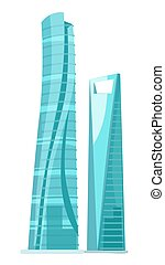Skyscraper Two Glass Buildings Isolated on White