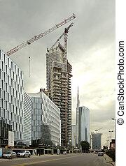 skyscraper under construction with