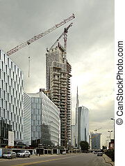 skyscraper under construction with
