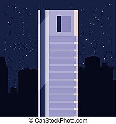 skyscraper urban city night stars background