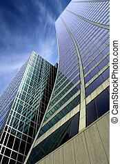 Skyscraper with a dramatic blue sky