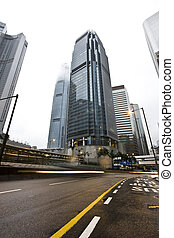 Skyscraper with building in hong kong