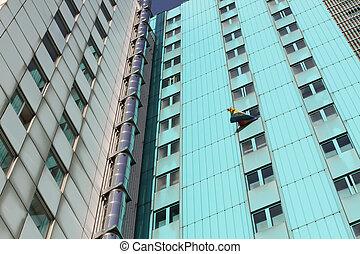 skyscraper with peace flag