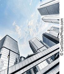 skyscrapers., 都市の景観, hong, 未来派, kong