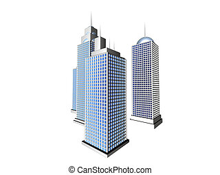 Skyscrapers 1 - 3D rendered skyscrapers, isolated on white ...