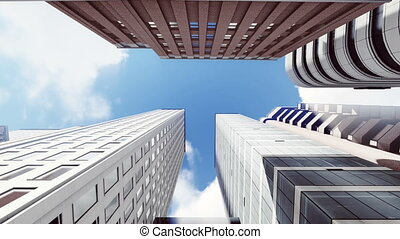 Skyscrapers against sky background 4K - Sliding upward along...