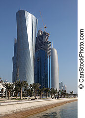 Skyscrapers along the corniche in Doha, Qatar, Middle East