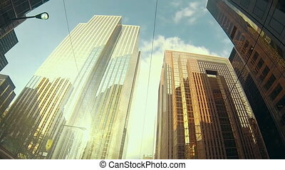 Skyscrapers and buildings of a large city. Banking and...