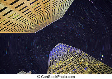 Skyscrapers and star trails - Miami downtown highrising with...