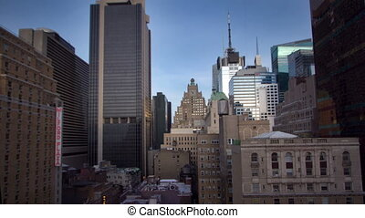 skyscrapers and towers in manhattan skyline view