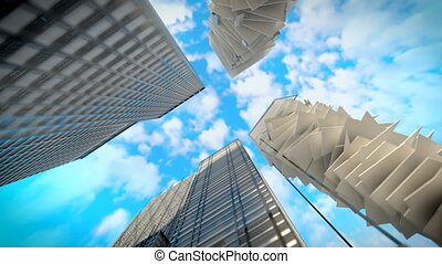 Skyscrapers are built at the top. 3d render. Animation. 4k