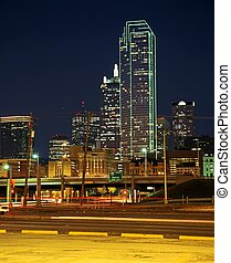 Skyscrapers at night, Dallas, USA. - Downtown Skyscrapers at...