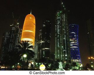 Skyscrapers at Night in Doha, Qatar