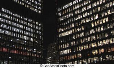 Skyscrapers at night.