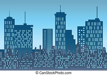 Skyscrapers at urban skyline - City buildings and ...