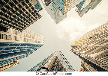 Skyscrapers bottom view - Bottom view of skyscrapers on...