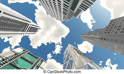Skyscrapers, bottom view - Computer generated 3D...