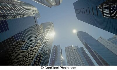 Skyscrapers, Business Buildings, Business Center (flat...
