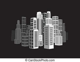 skyscrapers., cidade, edifícios